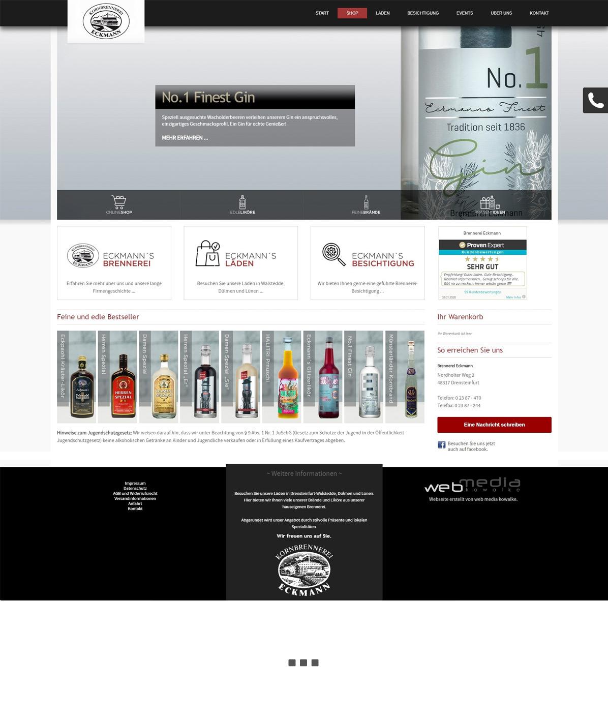 Neuer Online-Shop für Brennerei