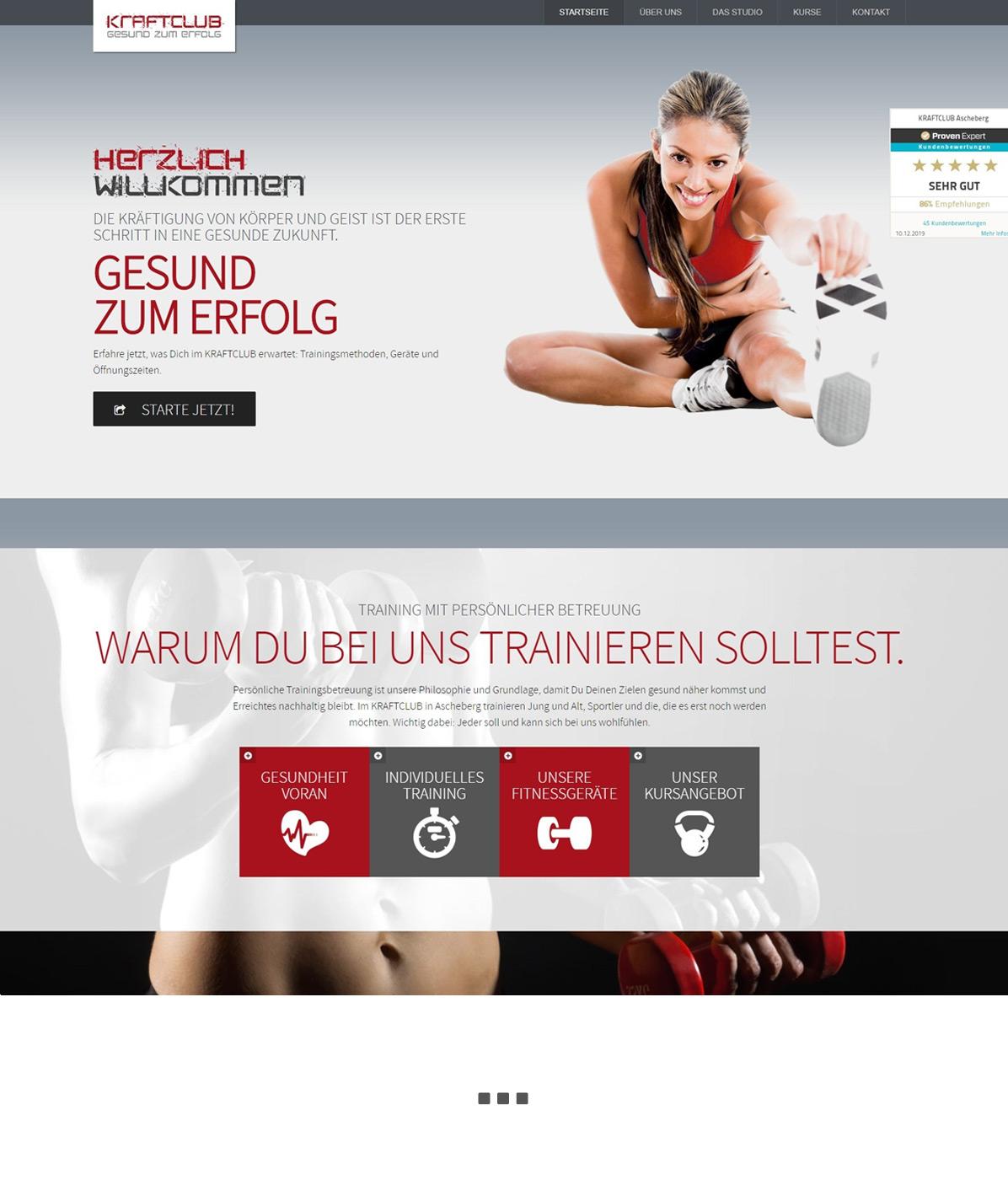 Neue Webseite für Fitnessstudio erstellt